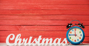 Clock and word Christmas. Royalty Free Stock Photography
