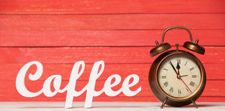 Clock and word Coffee. Royalty Free Stock Image
