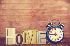 Clock and word Home Royalty Free Stock Photos