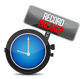Clock with words Record Breaker Stock Image