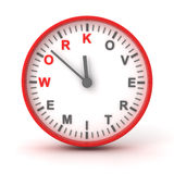 Clock with work overtime text, 3d render Stock Photo