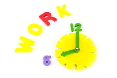 Clock and work wording Royalty Free Stock Images