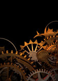 Clock Works. Gold Gears and cogs stacked up leaving space atop for text royalty free illustration