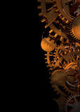 Clock Works. Clock type gears and cogs stacked up and giving space left stock illustration