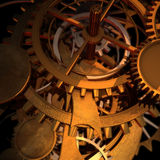 Clock Works. Clock type gears and cogs stacked up and giving space left vector illustration