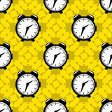 Clock on yellow background seamless vector pattern Royalty Free Stock Images