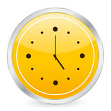 Clock yellow circle icon Royalty Free Stock Photos