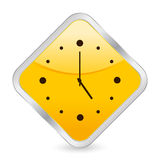 Clock yellow square icon Royalty Free Stock Photography