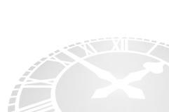 Clockface grigio che si trova su una priorità bassa bianca. Fotografia Stock