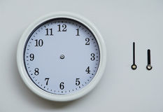 A clockface and an hour hand and the long hand of the wall clock Royalty Free Stock Images