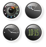 Clocks at 10:15. Four models of clock. analog and electronic Stock Photography