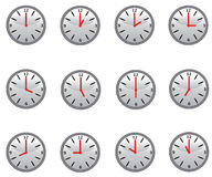 Clocks. Clock with all the 12 hours for education stock illustration