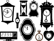 Clocks. Vector icons of hours in it is black white color Royalty Free Illustration