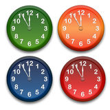Clocks. Colour clocks on white background stock illustration