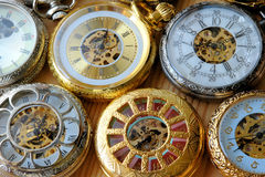 Clocks. The closeup of some old clocks royalty free stock photography