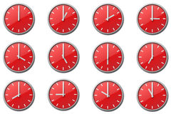 The clocks. 12 Red clocks at the position of every hour Stock Photos