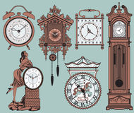 Clocks. A set of elegant antique clocks - vector illustration royalty free illustration