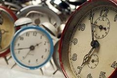 Clocks. Collection of vintage alarm clocks Royalty Free Stock Images