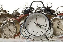 Clocks. Collection of vintage alarm clocks Royalty Free Stock Photos