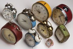 Clocks. Collection of vintage alarm clocks Stock Photos