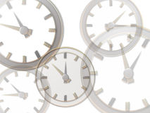 Clocks. Multiple clocks illustrations faded on gtop of each other royalty free illustration