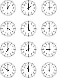 Clocks. Set of 12 clock-faces for every hour Stock Images