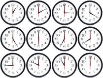 Clocks. 12 clocks with the time from 1 til 12. Ideal for education Stock Photos