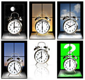 Clocks with different times Royalty Free Stock Image
