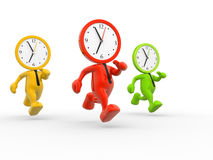 Clocks. 3d people - men, person running out of time. A clock Royalty Free Stock Photos