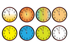 Clocks. Analog colorful clocks isolated on a white background Stock Photography
