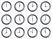 Clocks. 3d rendering of 12 clocks Stock Illustration