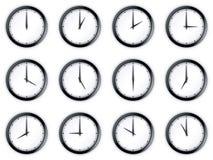 Clocks. 3d rendering of 12 clocks Stock Images