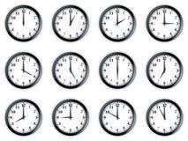 Clocks. 3d rendering of 12 clocks Royalty Free Illustration