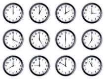Clocks. 3d rendering of 12 clocks Royalty Free Stock Photos