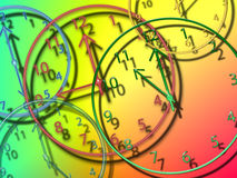 Clocks. Different size and colored clocks Stock Photos