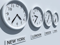 Clocks. Timezone clocks showing different time stock illustration