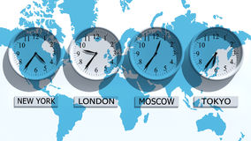 Clocks. Timezone clocks showing different time Royalty Free Stock Image