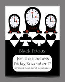 Clocks Banner Card Brochure. Black Friday Sale in Wonderland. Printable Vector Illustration for Graphic Projects, Real Life Parties and the Internet Royalty Free Stock Images
