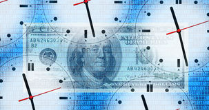Clocks and binary code Royalty Free Stock Photos