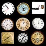 Clocks on black Royalty Free Stock Photography