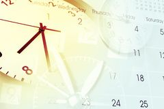 Time and calendar. Clocks and calendar page composite Royalty Free Stock Image