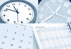 Clocks, calendar and year planner. Time management Royalty Free Stock Photos