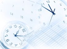 Clocks, calendar and year planner. Time management Stock Photos