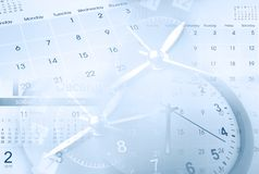 Clocks and calendars. Composite. Blue tone Stock Photography
