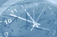Clocks and calendars. Composite. Blue tone royalty free stock photography
