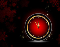 Clocks with christmas background Royalty Free Stock Images