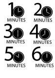 Clocks counting minutes  set Stock Photos
