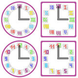 Clocks with dial in flat style Stock Images