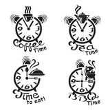 Clocks and different food and drinks Royalty Free Stock Images