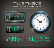 Clocks and electronic dial on black. Wall clocks and electronic dial on black, vector illustration royalty free illustration